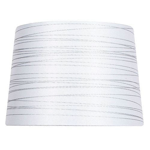 14 inch DIA White with Silver Foil Linen Blend Table Lamp Shade