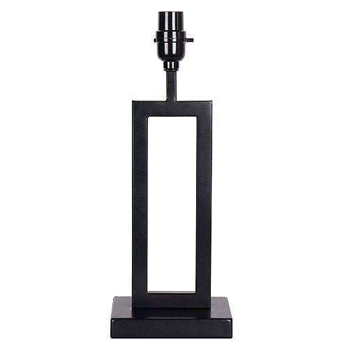 """Pied de lampe de taille moyenne en métal noir mat H. 16"""""""