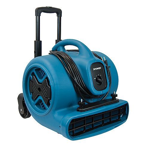 1/2 HP Air Mover Blower Fan with Telescopic Handle and Wheels and Carpet Clamp