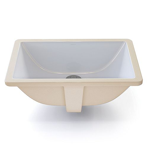 Callensia Rectangular White Vitreous China Undermount Lavatory with Overflow