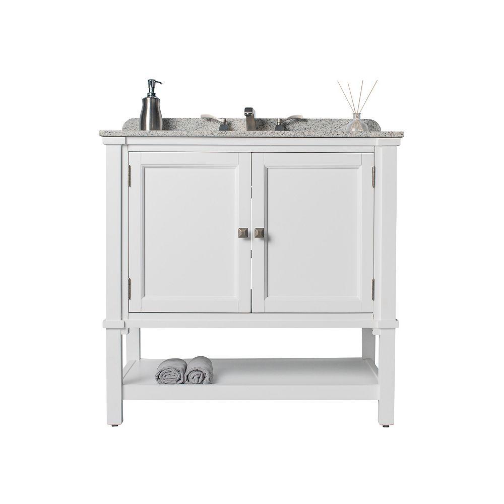 JSG Oceana Gray Ashlyn Single Vanity with White Undermount Top & Platinum Cubix Undermount Sink