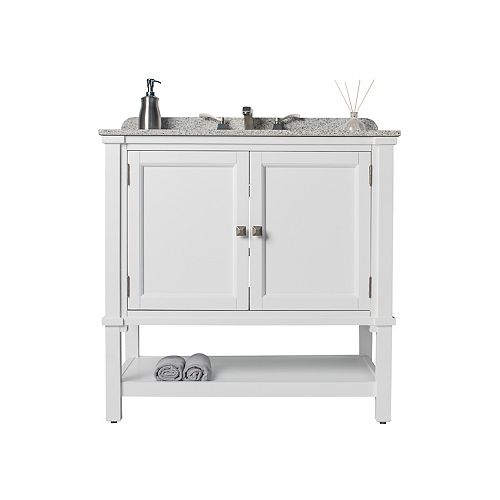 Gray Ashlyn Single Vanity with White Undermount Top & Platinum Cubix Undermount Sink