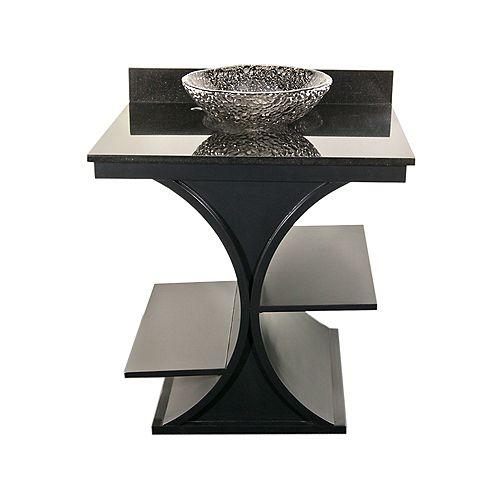 Black Cruz Vanity with Black Granite Top & 16 inch Black Nickel Pebble Vessel