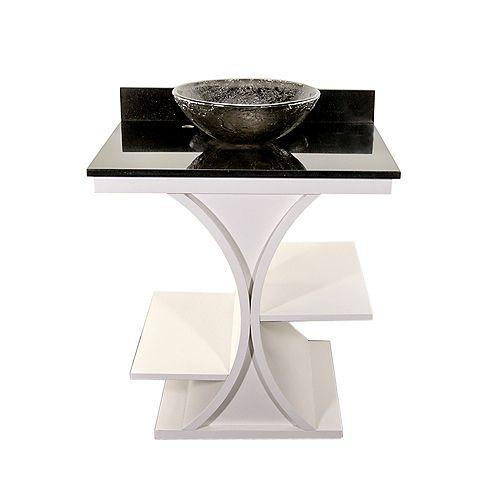 White Cruz Vanity with Black Granite Top & 16 inch Black Nickel Oceana Vessel