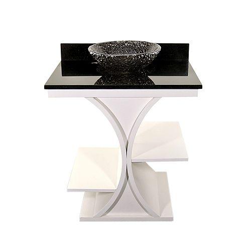 White Cruz Vanity with Black Granite Top & 16 inch Black Nickel Pebble Vessel