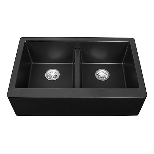 Quartz 34 inch Double Apronfront sink in Black