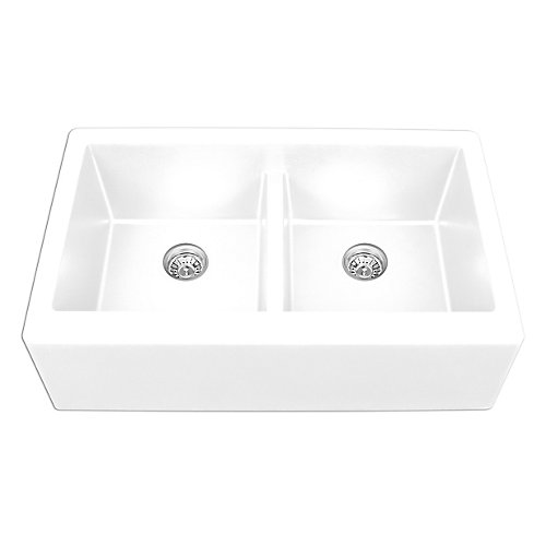 Quartz 34 inch Double Apronfront sink in White