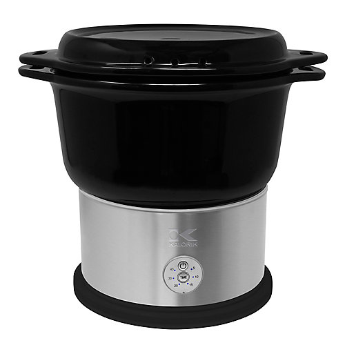 Black Ceramic Steamer with Steaming Rack
