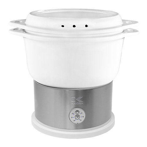 White Ceramic Steamer with Steaming Rack