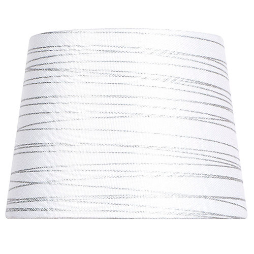 Mix and Match 10-inch Dia x 7.5-inch H White with Silver Foil Stripes Round Accent Lamp Shade