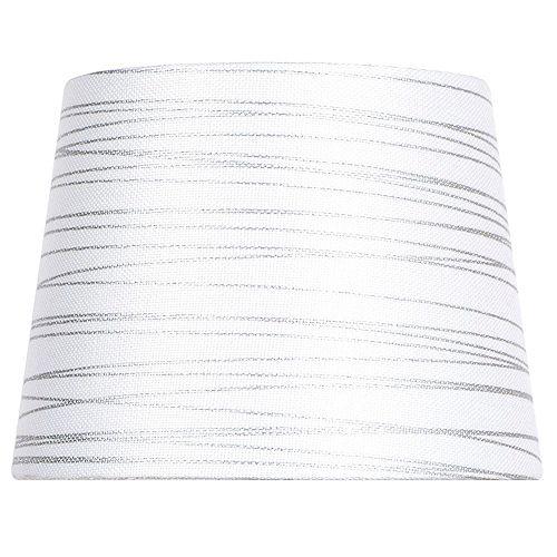 """Abat-jour de lampe d'appoint blanc avec mélange de lin et film argenté DIA. 10"""""""