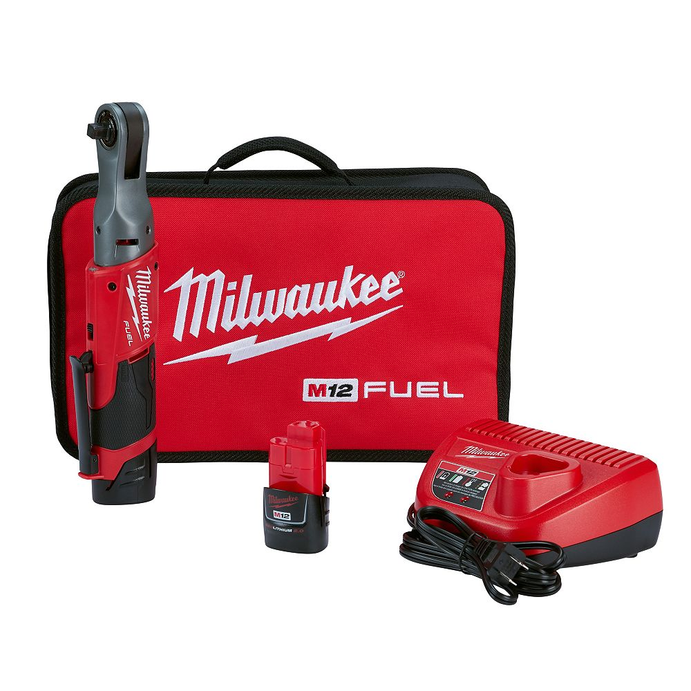 Milwaukee Tool M12 FUEL 12V Lithium-Ion Brushless Cordless 3/8-Inch Ratchet Kit W/ (2) 2.0Ah Batteries & Tool Bag