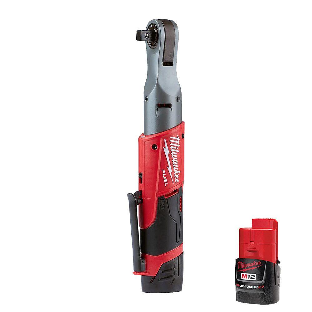 Milwaukee Tool M12 FUEL 12V Li-Ion Brushless Cordless 1/2-InchRatchet Kit W/ (2) 2.0Ah Batteries, Charger & Tool Bag