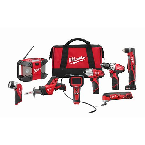 M12 12V Lithium-Ion Cordless Combo Tool Kit (8-Tool) with  (2) 1.5Ah & (1) 3.0 Ah Batteries & Tool Bag