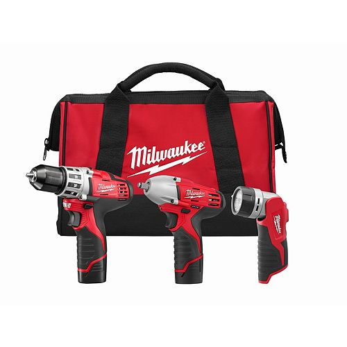 Milwaukee Tool M12 12V Lithium-Ion Cordless Combo Tool Kit (3-Tool) with (2) 1.5 Ah Batteries, (1) Charger, (1) Tool Bag