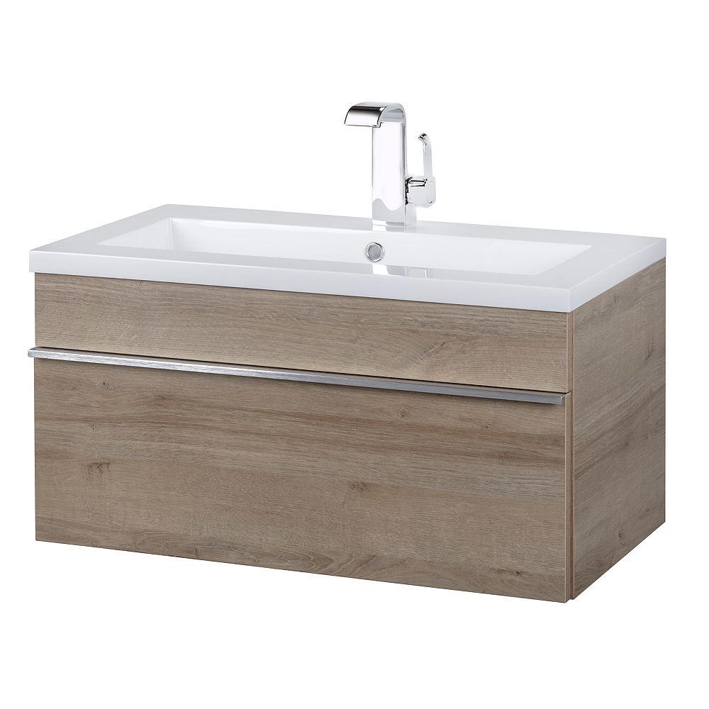 Cutler Kitchen Bath Trough Collection 30 Inch Wall Mount Modern Bathroom Vanity Organi The Home Depot Canada