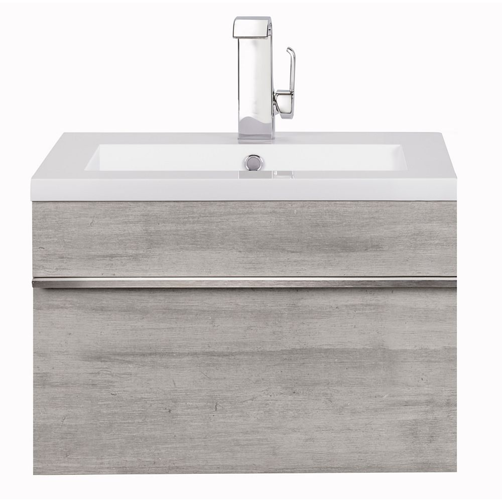 Cutler Kitchen Bath Trough Collection 24 Inch Wall Mount Modern Bathroom Vanity Soho The Home Depot Canada
