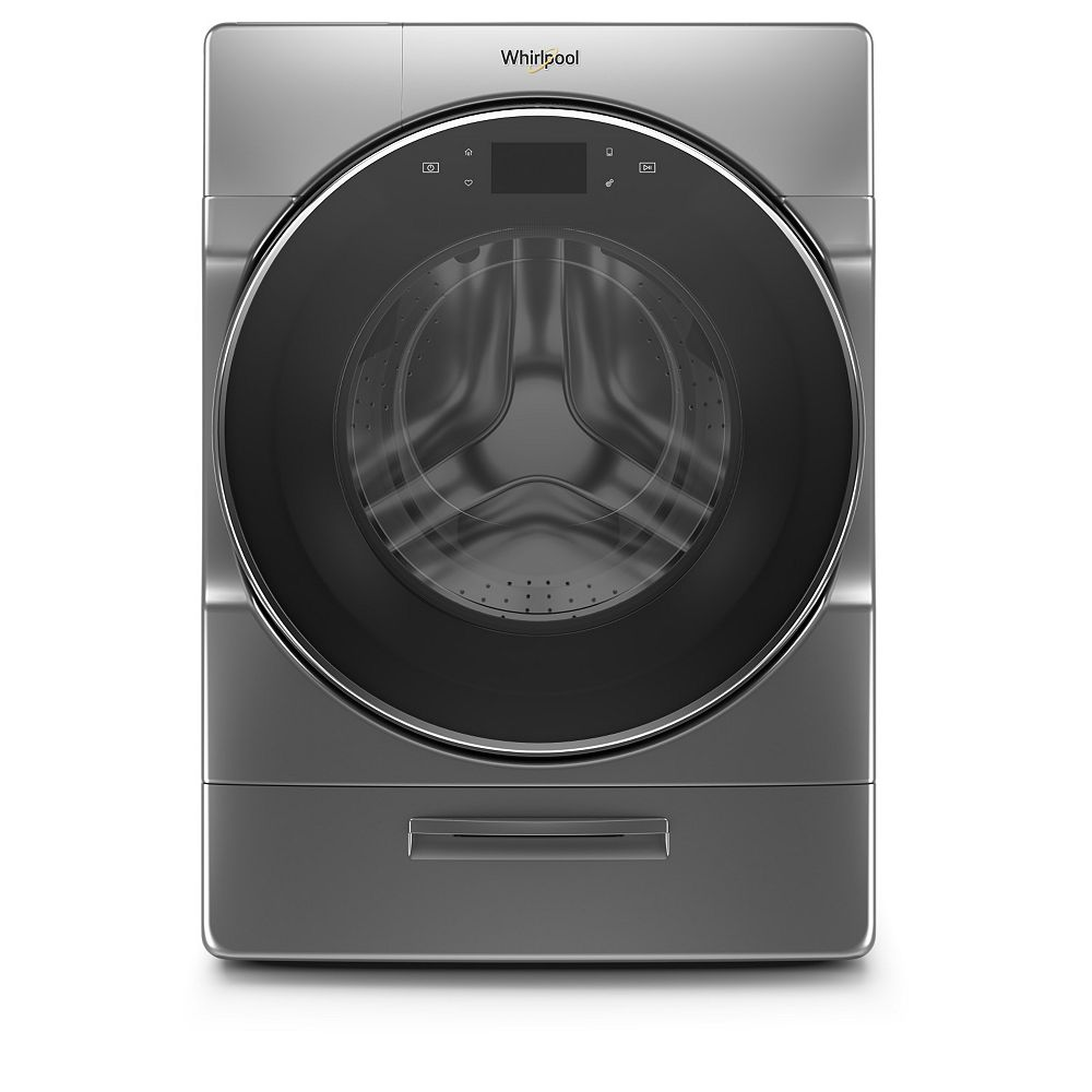 Whirlpool 5.8 cu. ft. Smart Front Load Washer with Load & Go XL Plus in Chrome Shadow