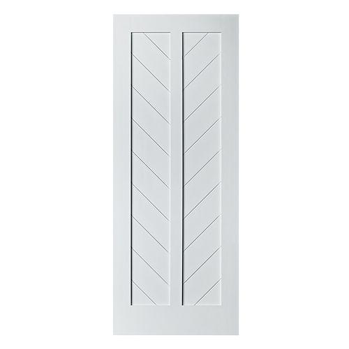 "Porte de Grange Modèle CHEVRON Apprêtée Blanche 37"" L x 84"" H x 1-3/8"""