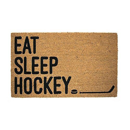 Paillasson d'extérieur, 18 po x 30 po, fibre de coco, «Eat, Sleep, Hockey», brun