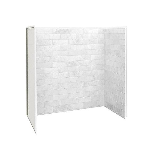 Ensemble de paroi de douche de 30 po x 60 po en marbre de Carrare