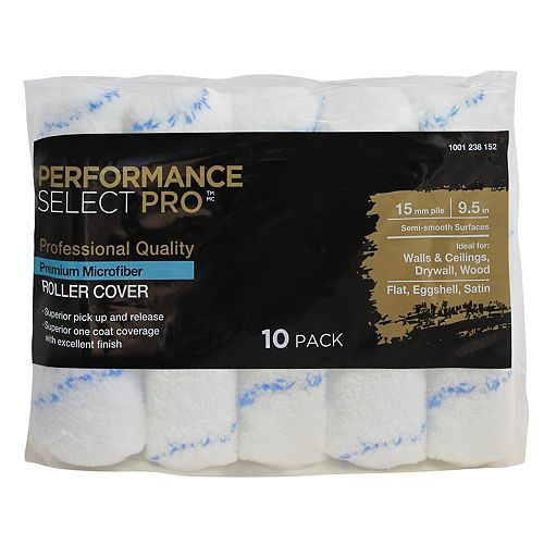 Performance Select Pro 9.5 inch x 5/8 inch Premium Microfiber Rollers 10 Pack