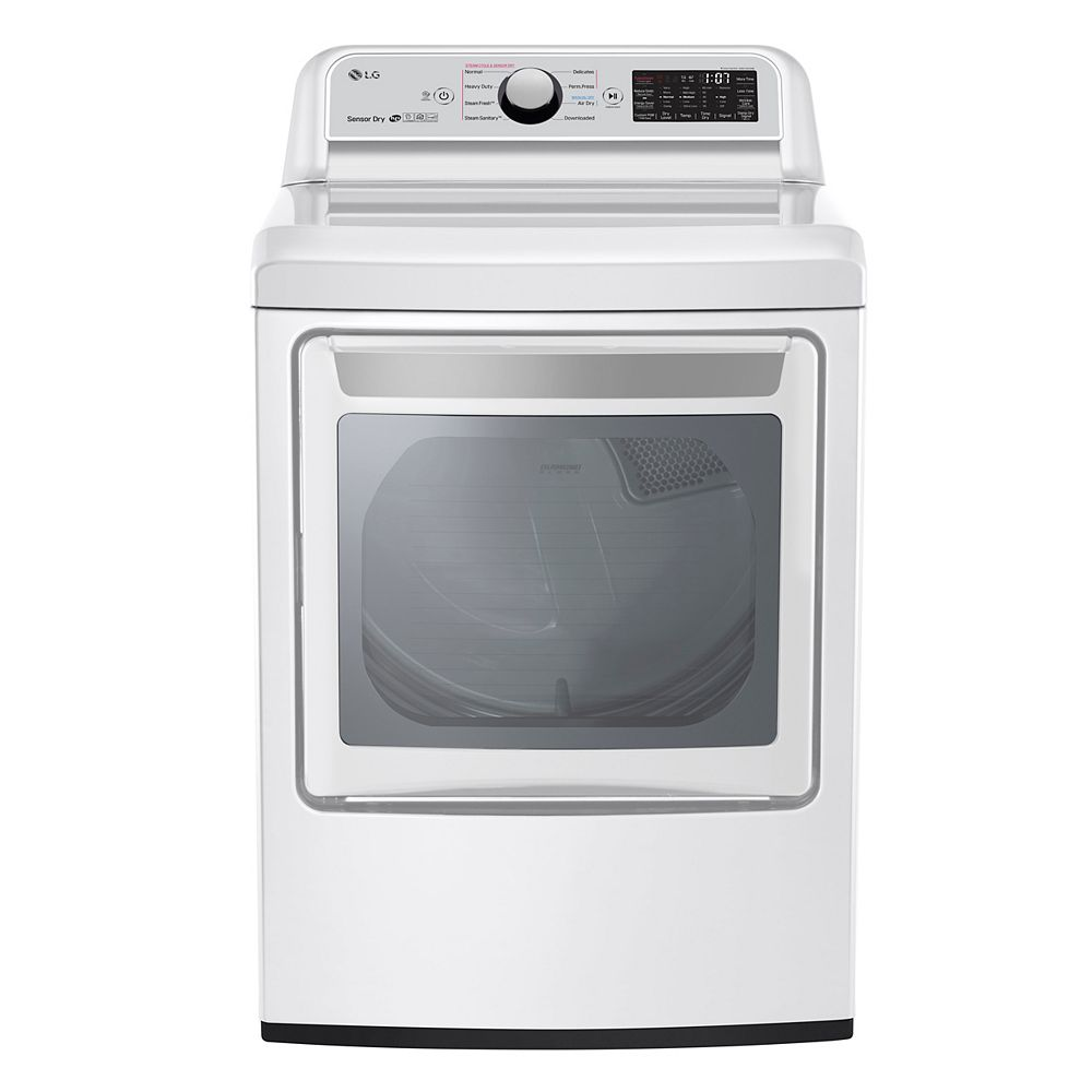 LG Electronics 7.3 cu.ft. Electric Dryer with Ultra Large Capacity in White - ENERGY STAR®