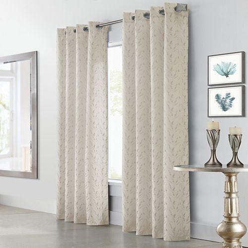 Arcadia rideau à oeillets jacquard filtre la lumière 132 cm x 213 cm blanc cassé