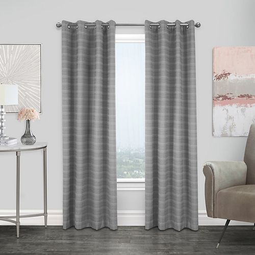 Mendez rideau à oeillets jacquard texturé obscurité totale 132 cm x 213 cm gris