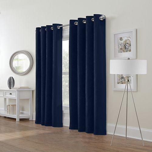 Festival rideau à oeillets velour texturé  filtre la lumière 132 cm x 213 cm marine