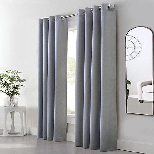 Margaret Light Filtering Faux Linen Grommet Curtain 52 in x 84 in Grey