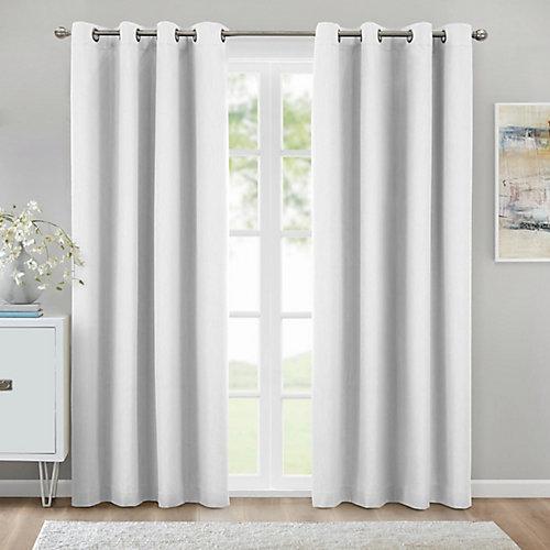 Kelly rideau à oeillets texturé obscurité totale 132 cm x 213 cm blanc