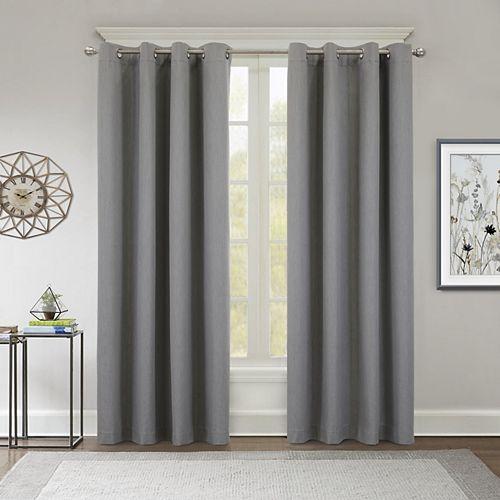 Kelly rideau à oeillets texturé obscurité totale 132 cm x 213 cm gris