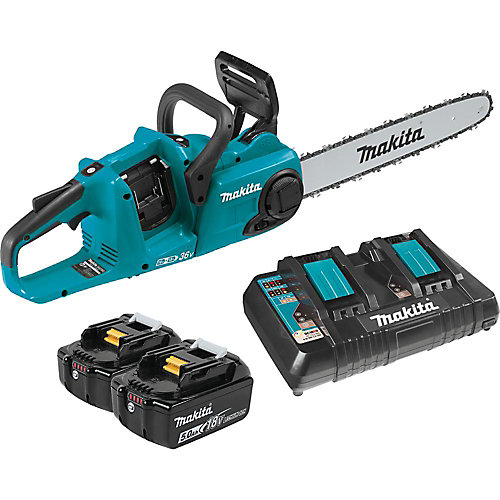 16-inch 18Vx2 LXT Cordless Chainsaw with 2 x 5.0Ah Li-Ion Batteries & Dual-Port Charger