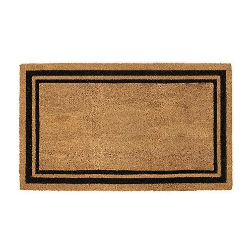 Paillasson rectangulaire d'intérieur/extérieur avec bordure noire imprimée, 18 po x 30 po, fibre de coco, simple