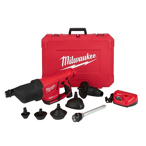 M12 12V Li-Ion Cordless Drain Cleaning Airsnake Air Gun (Tool-Only) w/2Ah Battery,Toilet Attachments