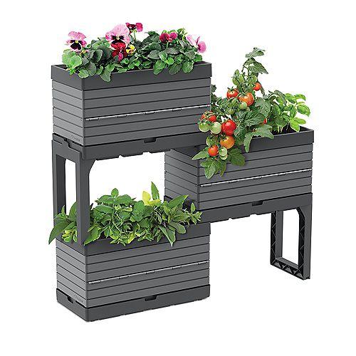 Botanica, Jardin modulaire ensemble de 3 bacs et 2 pattes, gris - Idéal pour les balcons