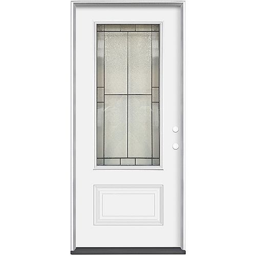 Masonite 34-inch x 80-inch x 7-1/4-inch Antique Black 3/4 Lite Entry Door LH