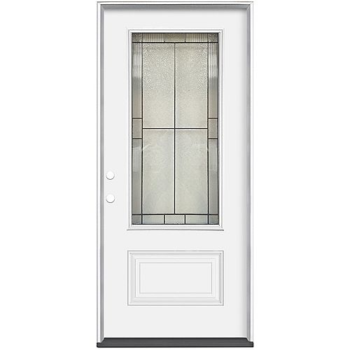 36-inch x 80-inch x 4-9/16-inch Antique Black 3/4 Lite Right Hand Entry Door