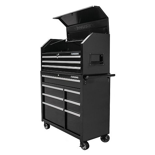 Husky 42-inch 10-Drawer Mobile Tool Storage Chest and Cabinet Set in Black