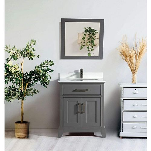 Genoa 30 inch Vanity in Grey with Single Basin Vanity Top in White Phoenix Stone and Mirror