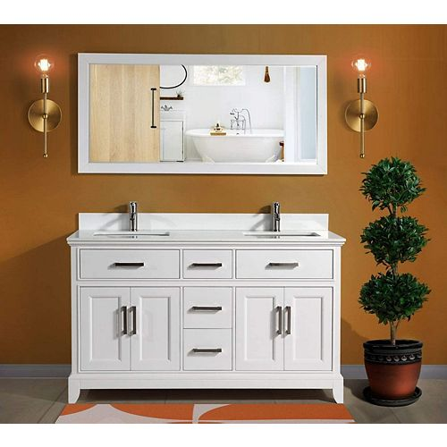 Genoa 60 inch Vanity in White with Double Basin Vanity Top in White Phoenix Stone and Mirror