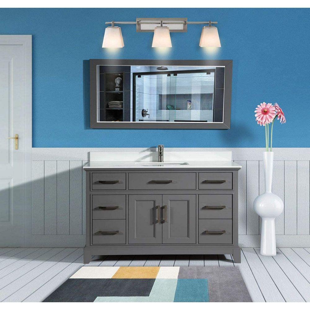Vanity Art Genoa 60 Inch Vanity In Grey With Single Basin Vanity Top In White Phoenix Ston The Home Depot Canada