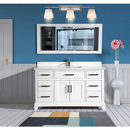 Genoa 60 inch Vanity in White with Single Basin Vanity Top in White Phoenix Stone and Mirror