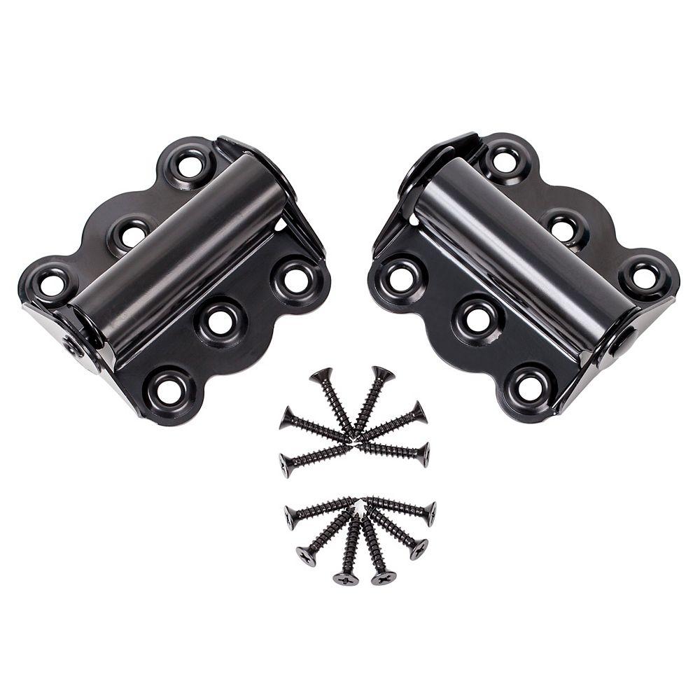Ideal Security SK919 Charnières 2-3/4 pouces pour porte moustiquaire - Fermeture automatique (Noir)