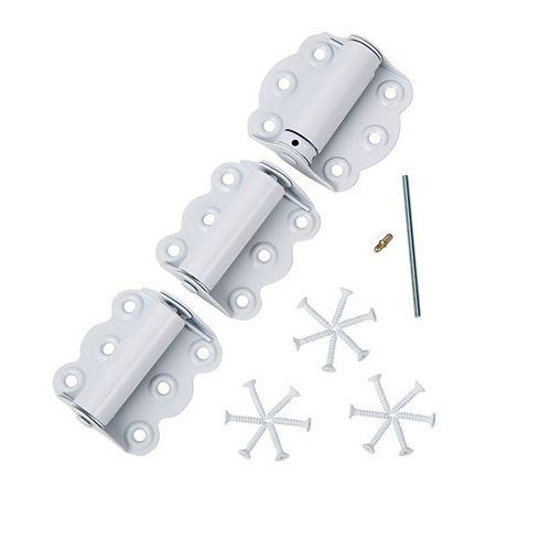 SK920 Charnières 2-3/4 pouces pour porte moustiquaire - Fermeture automatique et ajustable (Blanc)