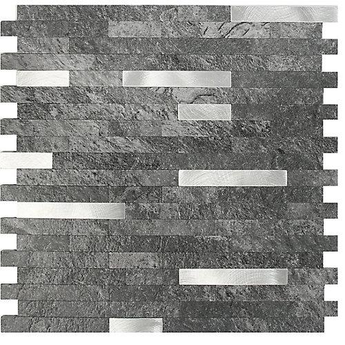 11.5X11.7 Gris foncé Peler et coller Métal et PVC