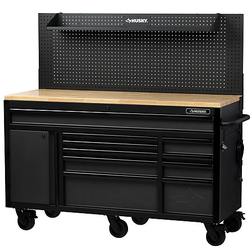 Heavy-Duty 61-inch W x 23-inch D 10-Drawer 1-Door Tool Chest Mobile Workbench with  Flip-up Pegboard in Matte Black