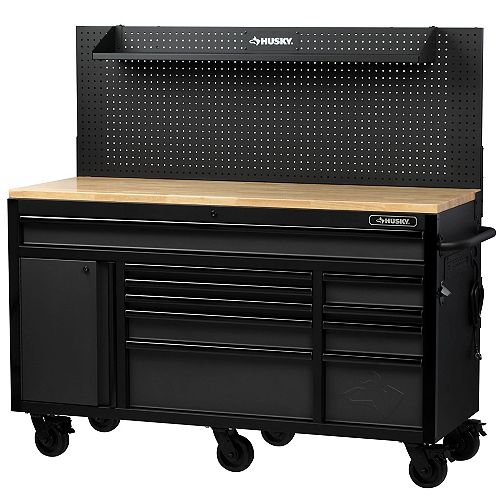Heavy-Duty 61-inch W x 23-inch D 10-Drawer 1-Door Tool Storage Chest Mobile Workbench with Flip-up Pegboard in Matte Black