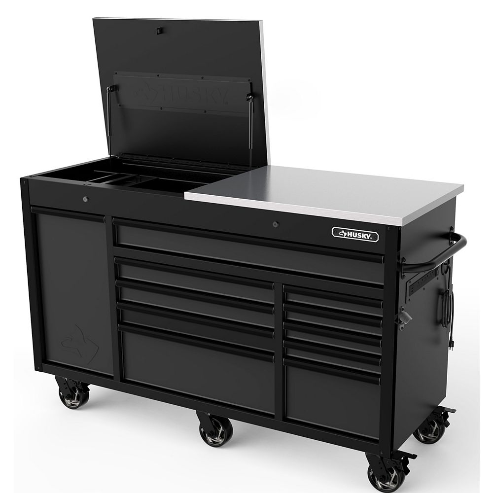 Husky Heavy-Duty 63-inch W x 23-inch D 11-Drawer Tool Storage Chest Mobile Workbench with Flip-Top Stainless Steel Top in Matte Black